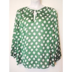 Coldwater Creek Green White Polka Dot Shirt 1X 18